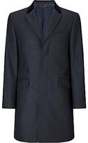 John Lewis Herringbone Covert Tailored Overcoat, Navy