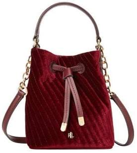 Lauren Ralph Lauren Velvet Mini Leather Drawstring Bucket Bag