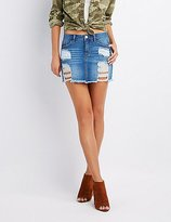 Charlotte Russe Refuge Distressed Denim Mini Skirt