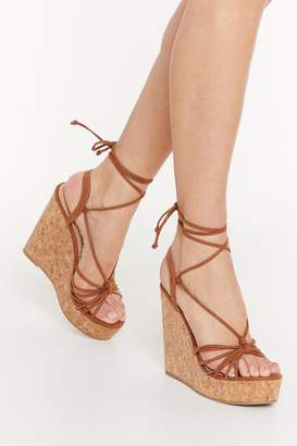 Nasty Gal Womens Let's Cork About Love Lace-Up Wedge Sandals - brown - 8
