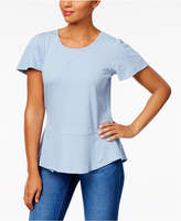 Style&Co. Style & Co Petite Cotton Textured Peplum Top, Created for Macy's