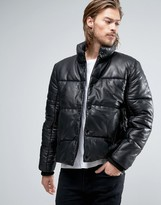 Asos Puffer Leather Jacket In Black