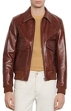 Sandro Slim-Fit Aviator Vintage Leather Jacket