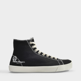 Maison Margiela Tabi High Top Sneakers In Black Canvas