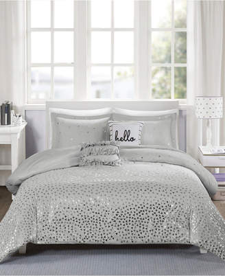 Zoey Intelligent Design Full/Queen 5 Piece Metallic Triangle Print Duvet Cover Set Bedding