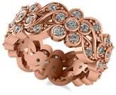 Allurez Women's Diamond Floral Anniversary Ring Band in 14k Rose Gold (1.23ct)