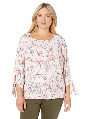 Nine West Women's Jewel Neck Printed Blouse with 3/4 Bowtie Sleeve