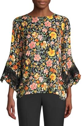 Kobi Halperin Sloane Lace-Trim Floral Silk Blouse