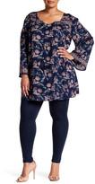 Angie Bell Sleeve Tassel Tie Print Dress (Plus Size)