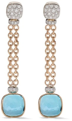 Pomellato 18kt rose and white gold Nudo sky blue topaz and diamond drop earrings