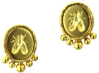 Elizabeth Locke Small Bee 19K Yellow Gold Stud Earrings