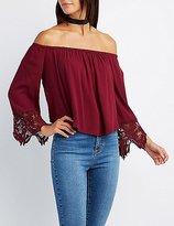 Charlotte Russe Off-The-Shoulder Crochet-Trim Top