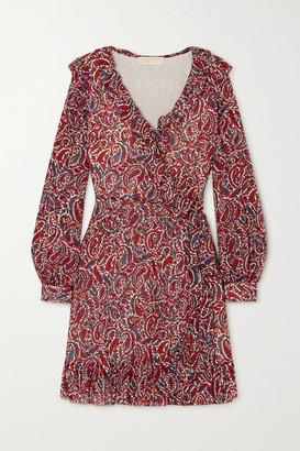 MICHAEL Michael Kors Ruffled Paisley-print Crepe Wrap Mini Dress - Burgundy