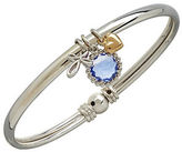 Lord & Taylor 14K Yellow Gold Sterling Silver and Blue Topaz Charm Bracelet