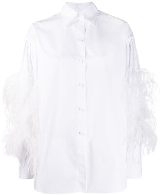 Valentino Feather Embellished Buttoned Shirt