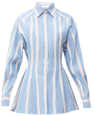 Carolina Herrera Dropped-sleeve Striped Cotton-poplin Shirt - Womens - Blue White