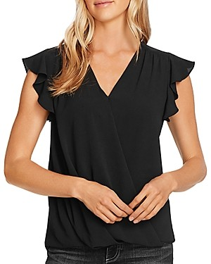 Vince Camuto Flutter Sleeve Wrap-Front Top