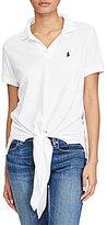 Polo Ralph Lauren Tie-Front Mesh Polo Shirt