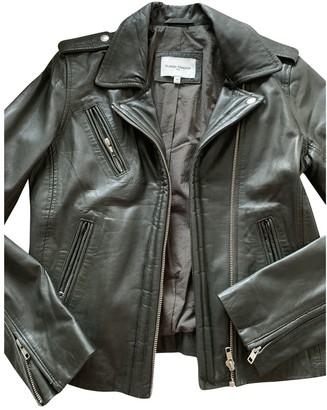 La Petite Francaise Green Leather Jacket for Women