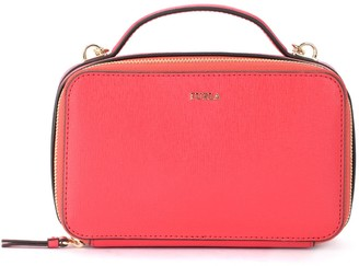 Furla Babylon M Bandolier Bag In Strawberry Red Leather With Shoulder Strap And Handle
