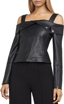 BCBGMAXAZRIA Clyde Cold-Shoulder Faux-Leather Moto Jacket