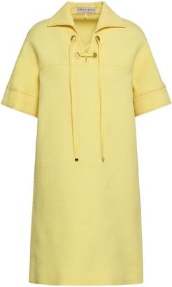 Emilio Pucci Lace-up Cotton, Wool And Silk-blend Matelasse Mini Dress