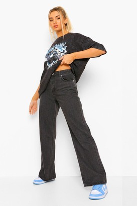 boohoo Basic Stretched Fitted Wide Leg Jean