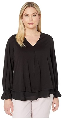MICHAEL Michael Kors Size Long Sleeve Bell Inverted Pleat Top (Black) Women's Clothing