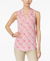 Charter Club Petite Printed Surplice Top, Only at Macy's