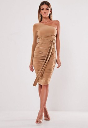 Missguided Camel One Shoulder Slinky Bodycon Ruched Midi Dress