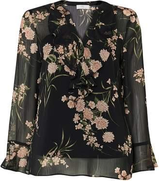 Wallis PETITE Black Floral Ruffle Top