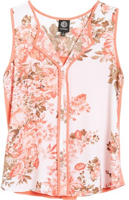 Bobeau Floral & Solid Mixed Media Sleeveless Top