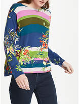 Oui Floral Tropical Print Cotton Jumper, Multi