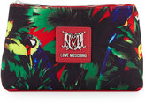 Love Moschino Jungle Canvas Cosmetic Bag, Black/Red