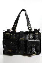 Mulberry Black Leather Gold Tone Studded Roxanne Tote Shoulder Handbag