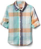 Check linen-blend convertible shirt