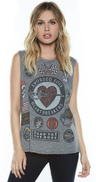 Lauren Moshi Kel Vintage Scoop Neck Tank in Heather Grey