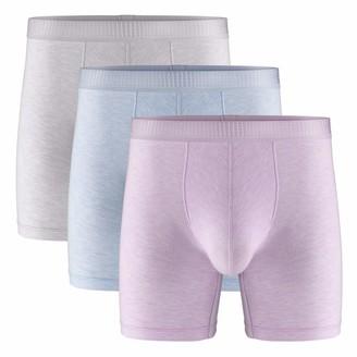 Separatec Men's 3 Pack Micro Modal Separate Pouches Comfort Fit Boxer Briefs - grey - Large