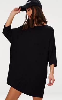 PrettyLittleThing Basic Black Jersey Oversized Batwing T-shirt Dress