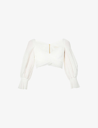 Zimmermann Pleated puff-sleeve cropped woven top