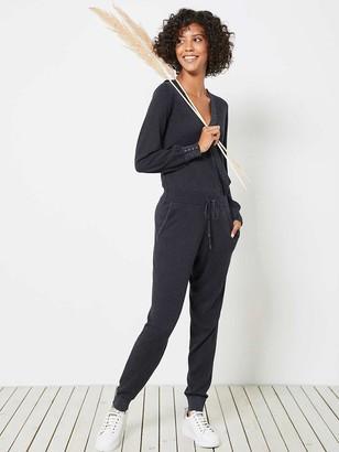 Mint Velvet Wrap Knitted Jumpsuit - Charcoal