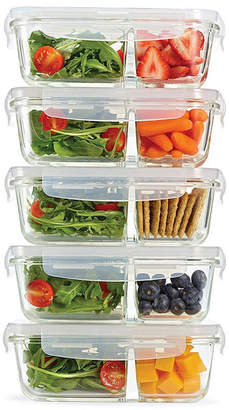 Fit & Fresh Set of 5 Divided Glass Containers, 27.05 Oz
