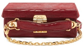 Mark Cross Grace Mini Lizard-effect Suede Box Bag - Burgundy