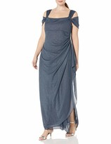 Alex Evenings Womens Plus Size Cold-Shoulder Dress Side Ruched Skirt