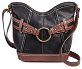 Bolo Women's Faux Leather Crossbody Handbag with Back/Interior Compartments and Zipper Closure - Black/Walnut