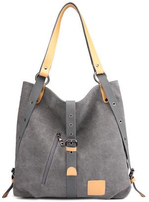 Ella & Elly Women's Handbags Grey - Gray Buckle-Front Tote