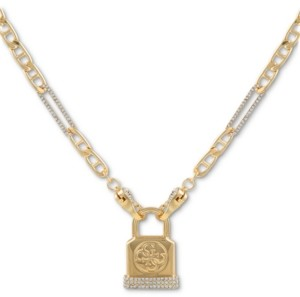 "GUESS Pave Logo Padlock Pendant Necklace, 16"" + 2"" extender"