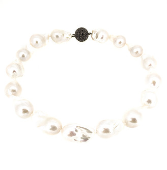 Arthur Marder Fine Jewelry Silver Black Spinel & 16-23Mm Pearl Necklace