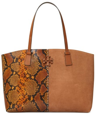 Tory Burch McGraw Snakeskin-Embossed Leather & Suede Tote