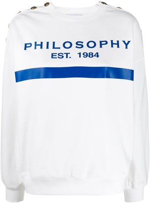 Philosophy di Lorenzo Serafini Button Detail Logo Print Sweatshirt